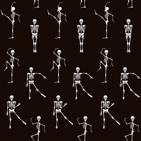 A Seamless pattern, background with dancing skeletons in black and white colors. Stock line vector illustration