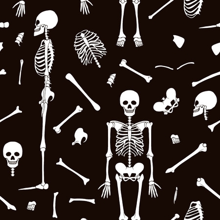 Seamless pattern, background with dancing skeletons in black and white colors. Stock line vector illustration 向量圖像