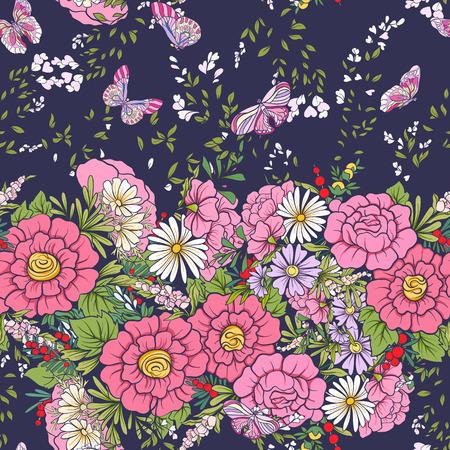 Floral seamless pattern with butterflies  Stock vector illustration. On dark blue background. Ilustração