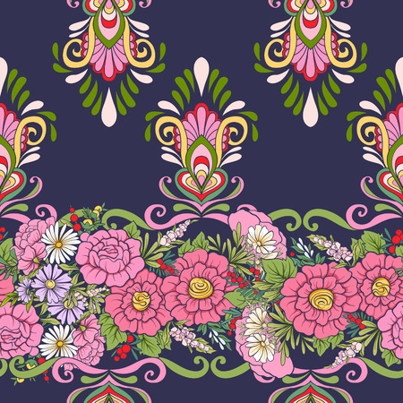 Floral seamless pattern with butterflies  Stock vector illustration. On dark blue background. Illustration
