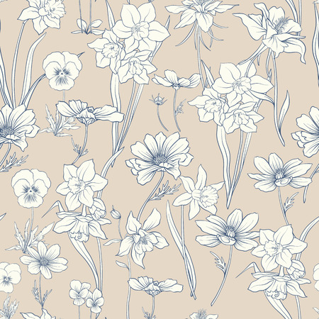 Colored floral seamless pattern with flowers in vintage style Stock line vector illustration. Çizim