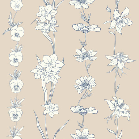 Colored floral seamless pattern with flowers in vintage style. Stock line vector illustration.