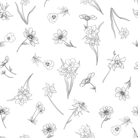 Outline floral seamless pattern with flowers in vintage style. Stock line vector illustration.