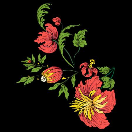 칼라 라인 용 자수. 빈티지 스타일의 꽃 장식