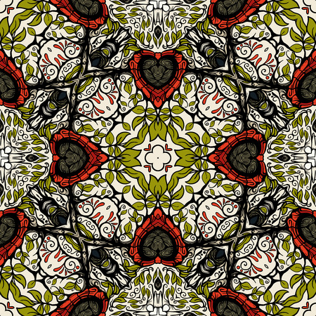Seamless pattern, background with geometric and floral abstract patt