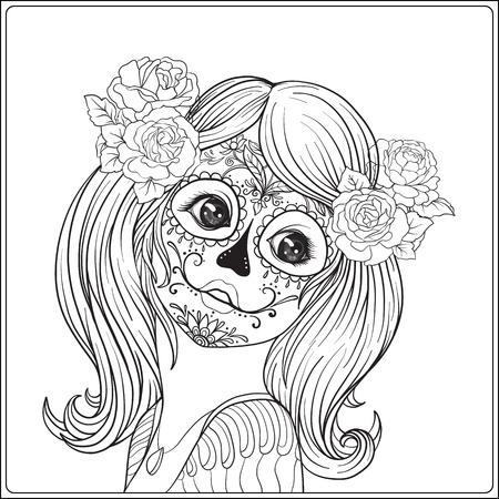 Het portret van een jong mooi meisje in Halloween of Dag van de Doden maakt omhoog. Overzichtstekening kleurplaat voor het volwassen kleurboek. Voorraad regel vector illustratie.