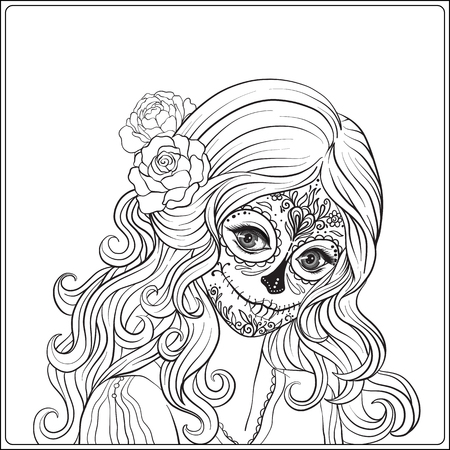 Portrait of a young beautiful girl in Halloween or Day of the Dead make up. Outline hand drawing coloring page for the adult coloring book. Stock line vector illustration.