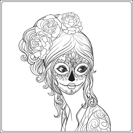 ハロウィーンや死者の日の美しい少女の肖像画を占めています。手描きの大人の塗り絵のページを着色の概要を説明します。ストック ライン ベクト