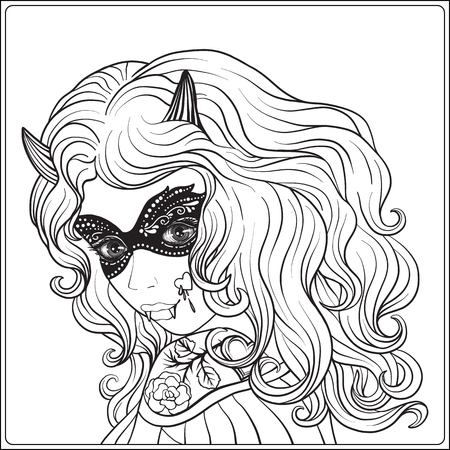 Portrait of a young beautiful girl in Halloween. Illustration