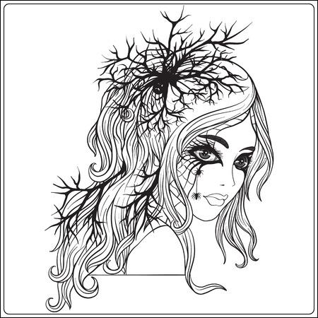 할로윈에 젊은 아름다운 여자의 초상화