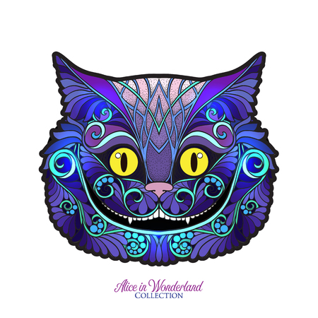 The head of the Cheshire cat from the fairy tale Alice in Wonde Ilustração