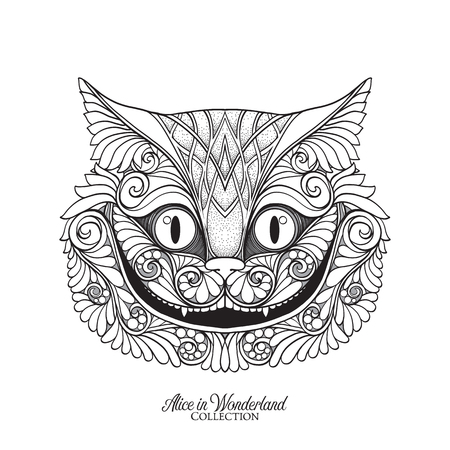 The head of the Cheshire cat from the fairy tale Alice in Wonde  イラスト・ベクター素材