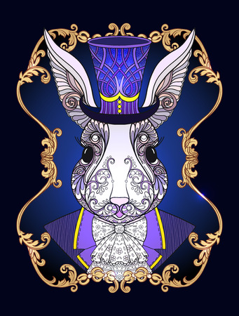Hare or rabbit in the hat from the fairy tale Alice in Wonderland with decorative pattern in gold frame. Stock line vector illustration.