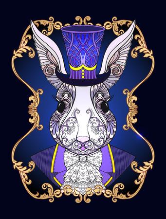 Lepre o coniglio nel cappello dalla fiaba fiaba in wonderland con motivo decorativo in oro incisione incisione illustrazione vettoriale fotografico Vettoriali
