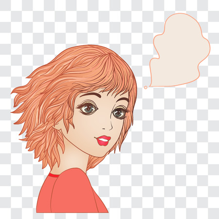 A young beautiful girl with a cloud for the text. Isolated color