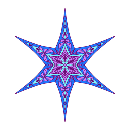 Star in decorative style. Stock line vector illustration.