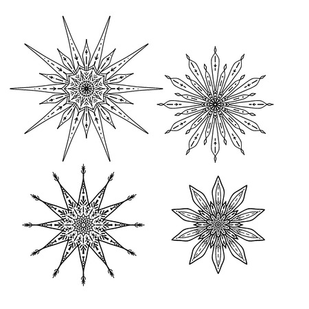 Set of stars in decorative style. Stock line vector illustration