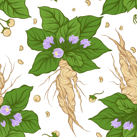 Seamless pattern and background with mandragora. Stock vector il Illustration