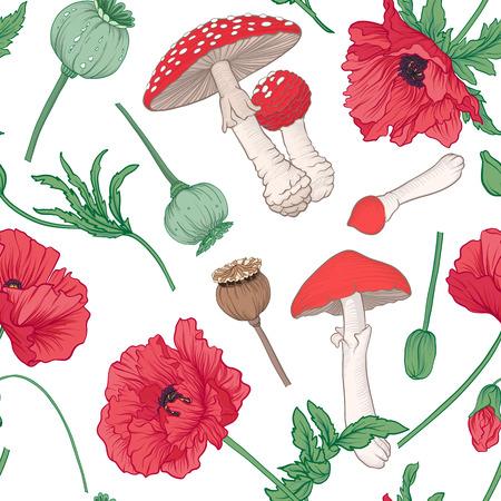 シームレスなパターンと、背景に赤いケシ、amanit  イラスト・ベクター素材