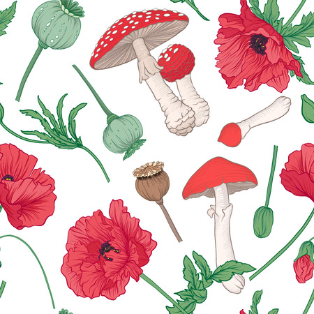 Seamless pattern and, background with red opium poppy and amanit Stock fotó - 90779801