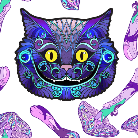 Cheshire cat head from the fairy tale Alice in Wonderland and