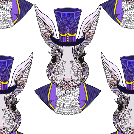 Hare or rabbit in the hat from the fairy tale Alice in Wonderla 向量圖像