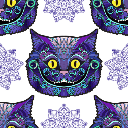 Cheshire cat head from the fairy tale Alice in Wonderland . Illustration