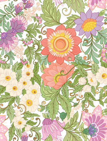 Seamless pattern, background with abstract decorative summer flo Ilustrace
