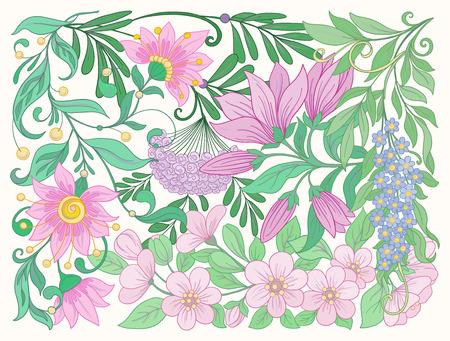 Floral composition. Spring flowers.  Vector illustration. Ilustração