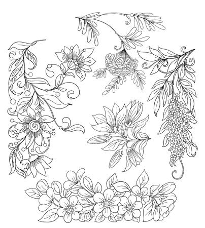 Set of spring flowers. Stock line vector illustration.