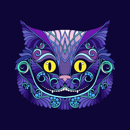 おとぎ話からチェシャ猫の頭を持つロング アップリケします。  イラスト・ベクター素材