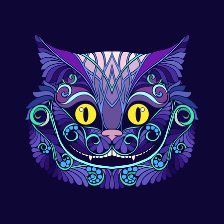 Applique with the head of the Cheshire cat from the fairy tale