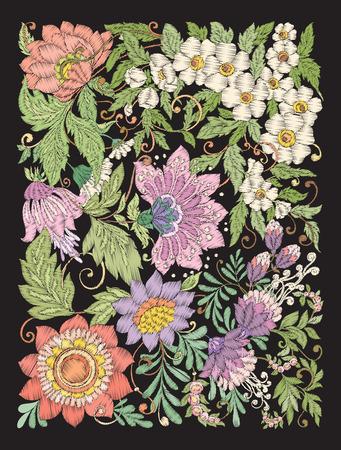 Embroidery imitation with summer flowers. Vector illustration. Illusztráció