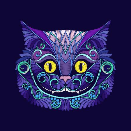 Broderie avec la tête du chat Cheshire du conte de fées Banque d'images - 86152841
