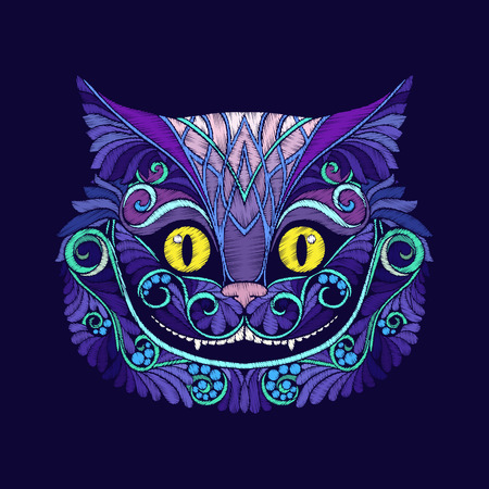 Embroidery with the head of the Cheshire cat from the fairy tale