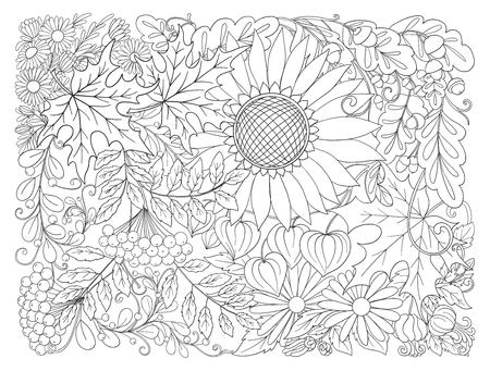 秋の組成は、花、葉や植物します。 写真素材 - 86152842