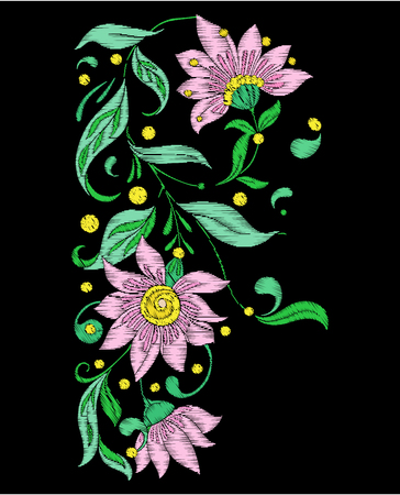 Embroidery imitation with spring flowers.  Vector illustration.