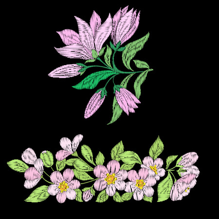 Embroidery imitation with spring flowers magnolia,  sakura leave Ilustrace