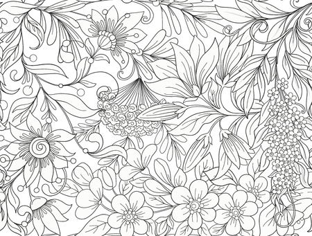 Seamless pattern, background with spring  flowers magnolia,  sak