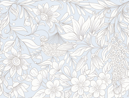 Spring  flowers magnolia repetitive pattern design.