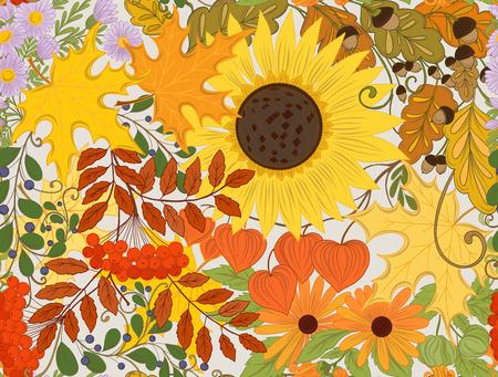 Autumn flowers, leaves design pattern Illustration
