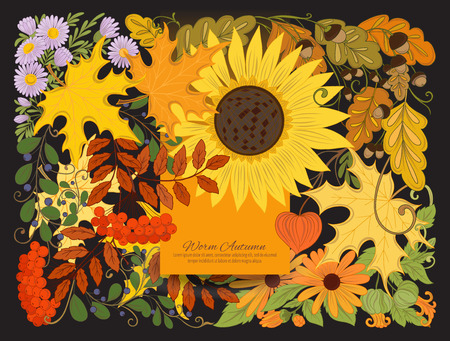 Banner, poster or invitation with autumn flowers, leaves and plants