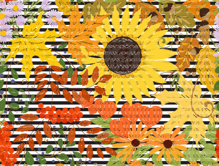 Banner, poster or invitation with autumn flowers, leaves and plants Imagens - 86270587