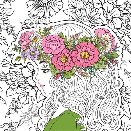 Een jong mooi meisje met een bloemkrans op zijn hoofd. colore Stock Illustratie