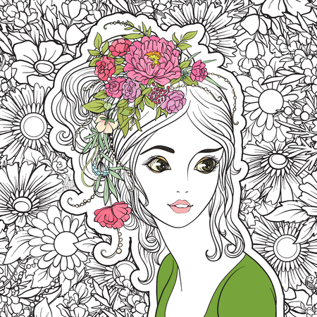 A young beautiful girl with a flower wreath on his head. Colore