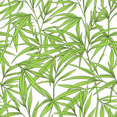 Seamless pattern with bamboo leaves and branches in Japanese sty Reklamní fotografie - 86201412