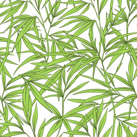 Sin patrón , con hojas de bambú y ramas en japonés vecor Foto de archivo - 86201412