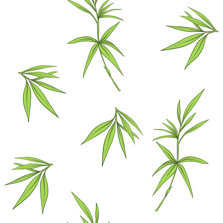 Seamless pattern with bamboo leaves and branches in Japanese sty Zdjęcie Seryjne - 86201414