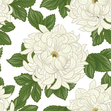 Modèle sans couture avec chrysanthème blanc dans le style japonais. Vec Banque d'images - 86201415