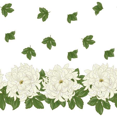 Seamless avec chrysanthème blanc dans le style japonais . vec Banque d'images - 86201417